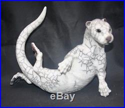 English Raku Studio Art Pottery Otter Signed by Potter Sculptor Brian Andrew