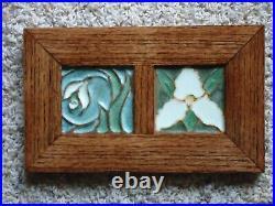 Ephraim Pottery Framed Diptych Tile Trillium and Snowdrop