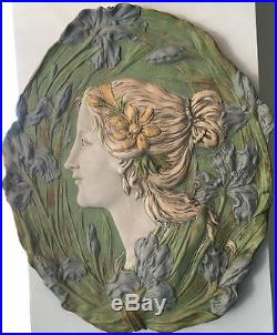 Ernst Wahliss Austrian Art Nouveau Ceramic Oval Plaque Signed Numbered Circa1900