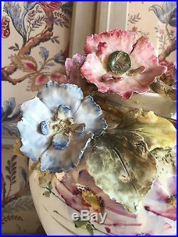Fabulous Antique French Majolica Impressionist Haviland Planter Vase Art Nouveau