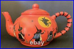 Fabulous Artist OOAK Witch Halloween Teapot 11 Witches Moon Flying Rare Signed