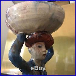 Faience Art Deco Bowl Holder Sculpture Wiener Werkstatte Style Erna Kopriva Era