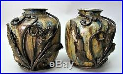 Fine BELGIUM ART NOUVEAU Iron-Mounted Crystalline Pottery Vases GUERIN c. 1920