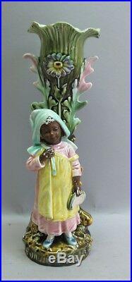 Fine FRIE ONNAING (France) Art Nouveau Vase with African Child c. 1910 antique