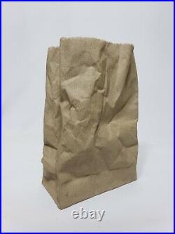 Gearys Beverly Hills Trompe Loeil Ceramic Brown Bag 7.75 Vintage Vase