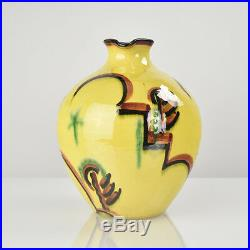 German Suprematism Art Deco Bauhaus Era Pottery Jug Vase Handpainted