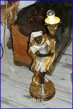 Gorgeous italian vintage 1970 Blackamoor ceramic polychrome statue lamp