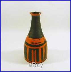Gorka Livia, Black & Orange Striped Retro Vase 7.8, 1950's Art Pottery