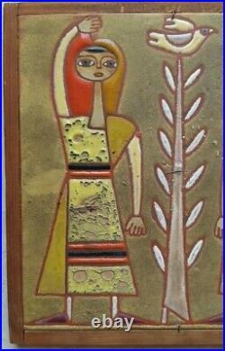 Greece Art Ceramic Tile Mid century pottery girls bird Signed Panos Valsamakis