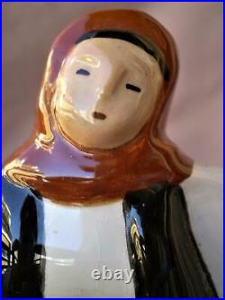 Greece, Greek Ceramic Art Statue Figurine Woman Pitcher Folk Costume, Valsamakis