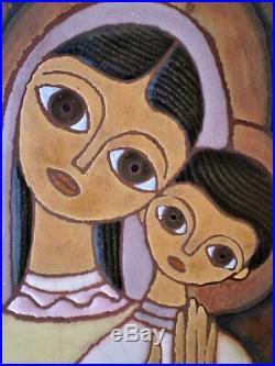 Greek Signed Ceramic Tile Art, Madonna Virgin Mary with Jesus (Child), Valsamakis
