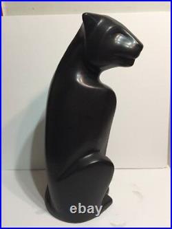 Haeger Ceramic Cats Panther Pair Deco Black White 20.5 Tall Jaguar Lion Leopard