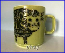 Hornsea Pottery Green Newsprint Zodiac Mug Taurus John Clappison