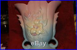Hull Art blue and pink vase wtih yellow magnolia blossom