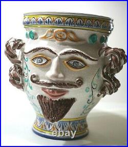 ITALIAN POTTERY VASE With Facial Features SIGNED ITALY Picasso Esque
