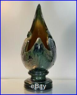 Impressive Art Nouveau Belgium French 18 inch moon shaped pottery vase luna blue