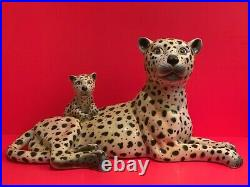 Impressive Mid-Century Large Italian Pottery Ceramic Leopard and Cub Statue