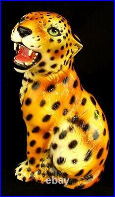 Intrada Cheetah Cub Handpainted Ceramic Made In Italy