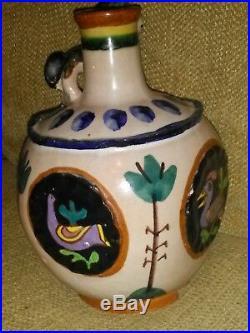 Italian Art Pottery Vietri CERAMIC I. C. S. Donkey Vase Fish Mark Gambone Doelker