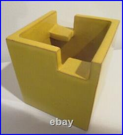 Italian Modern Cubist Vase Bitossi for Raymor Mid Century Rare Shape Yellow
