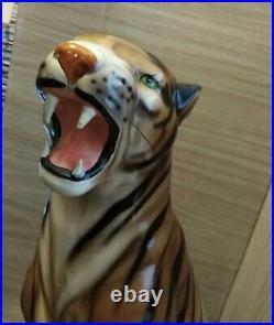 Italian mid-century ceramic tiger statue large vintage 61 cm tall