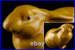 JAPANESE Okimono Kutani Art Pottery Ceramic Rabbit Bunny Hare Figurine Sculpture