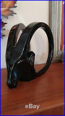 Jaru Of California Jet Black Art Deco Modernist Gazelle / Rams Head Sculpture