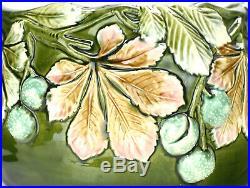 Large Antique Art Nouveau Pottery Majolica Jardiniere Planter Cachepot Onnaing