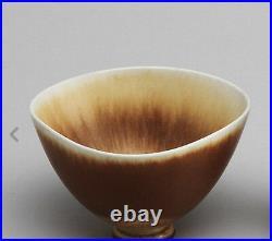 Large Berndt Friberg Studio Ceramic Bowl Haresfur Glaze Gustavsberg Sweden Sign