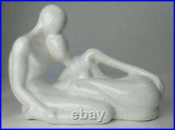 Large JARU 1983 White Ceramic Lovers Couple Modernist Abstract Sculpture