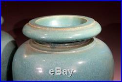 Large Pair Antique Galloway Terracotta Ceramic Art Deco Pottery Garden Urn Vases