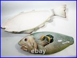 Large Vintage Italian Majolica Pottery Hand Painted Fish Tureen