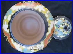 Large Vintage Regina Rosario Gouda Holland Art Pottery HP Lidded Ginger Jar Rare