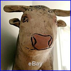 Large studio art ceramic sculpture of a bull, painted & artist's initals