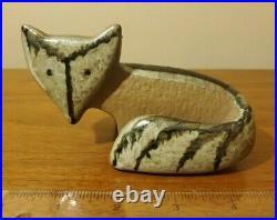 Lisa Larson Ceramic Fox Small Zoo Animal Swedish Nordic Pottery 5 x 3