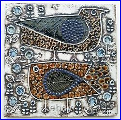 Lisa Larson ceramic birds wall plaque Fagler Unik Swedish mid-century art MCM