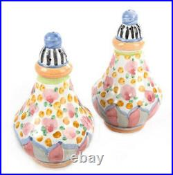 MACKENZIE CHILDS Taylor CABBAGE ROSE Ceramic Salt & Pepper Shaker Set NEW