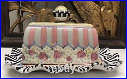 MACKENZIE-CHILDS Taylor Ceramic Butter Box Cabbage Rose Not Used