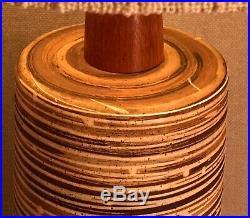 MCM Art Pottery & Walnut Table Lamp & Vintage Shade Bitossi/Martz Era 35.5 in. H