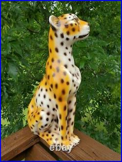MCM Cheetah Leopard Statue Ceramic Figurine Made in Italy LARGE 19 NICE