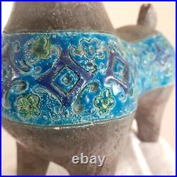 MCM Italian Pottery Horse Classic Bittosi Blue 10 25cm Tall Italy Vintage