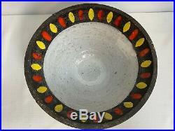 MCM Raymor Art Pottery Lava Bowl Orange/Yellow 11 Inch RAYMOR Large Serving Bowl