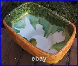 MCM signed Fantoni Italy lava volcanic drip glaze ceramic art pottery planter