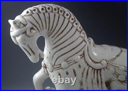 MID Century Florence Italy Ceramic XL Tang Horse White And Brown