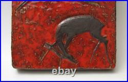 MID Century Modern Pottery Ceramic Wall Plaque Gazelles Studio Art German