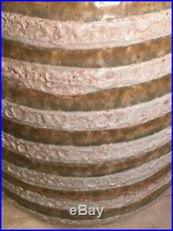MID Century Modern Striped Stripes Green Moss Olive Lava Glaze Lamp Art Pottery