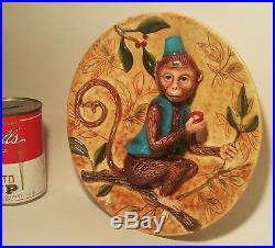 MONKEY MAJolica vtg ceramic pottery wall hanger plate repousse tree art figural