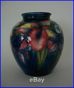 MOORCROFT'Orchid Pattern' Vintage Art Pottery Vase U K Mid 20th Century
