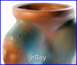 M Vintage 1920s-1930s Van Briggle Art Pottery Tall Indian Head Vase Mulberry
