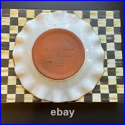 MacKenzie Childs Ceramic Courtly Check Fluted 9 Dessert Plate with Box